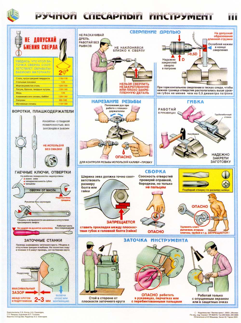 Инструкция по охране труда при работах со слесарным инструментом