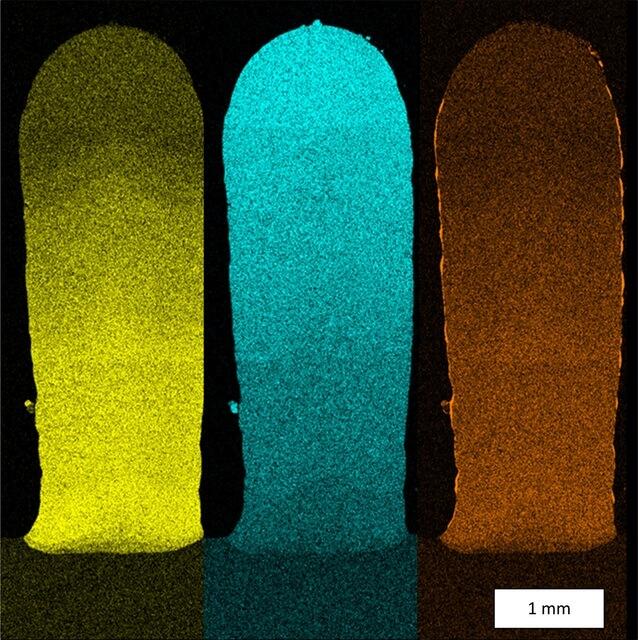 Химический анализ геометрии испытания подтверждает переход материала; цвета иллюстрируют непрерывный переход от сплава Merl72 на основе кобальта к суперсплаву на основе никеля IN 718 (желтый: кобальт, синий: никель, оранжевый: алюминий)