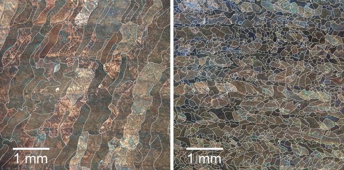 Слева – титановый сплав, напечатанный традиционным способом, справа – с помощью ультразвука