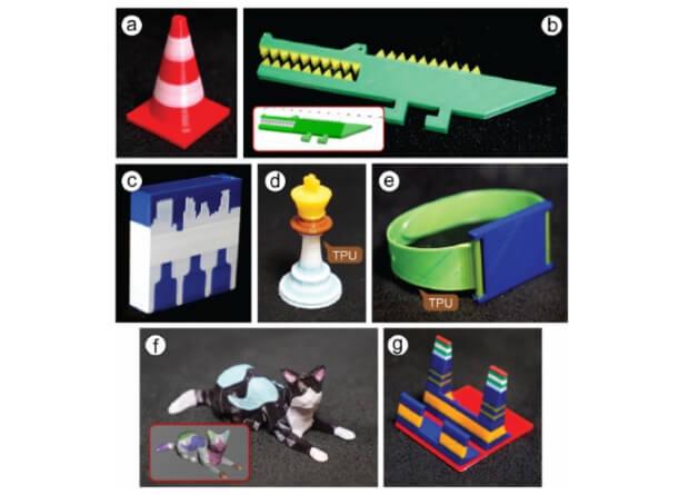 Фигурки, напечатанные с использованием программируемой нити, где TPU - гибкий термопластичный полиуретан