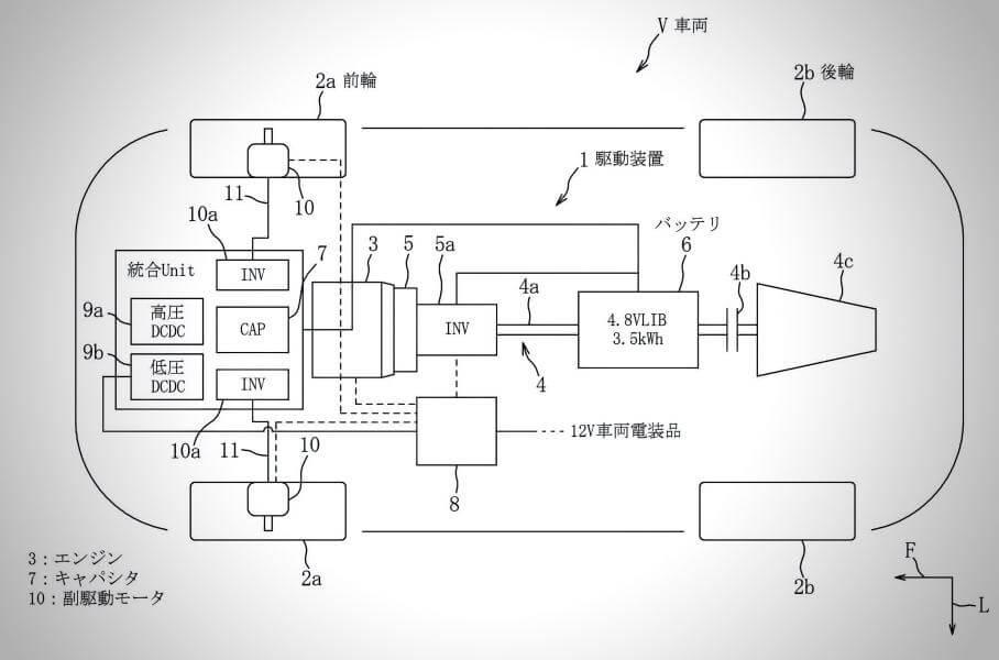 Основые узлы гибридного привода Mazda: 3 — ДВС, 5 — основной электромотор, 10 — вспомогательные электромоторы, 6 — батарея, 4с — трансмиссия, CAP — суперконденсатор