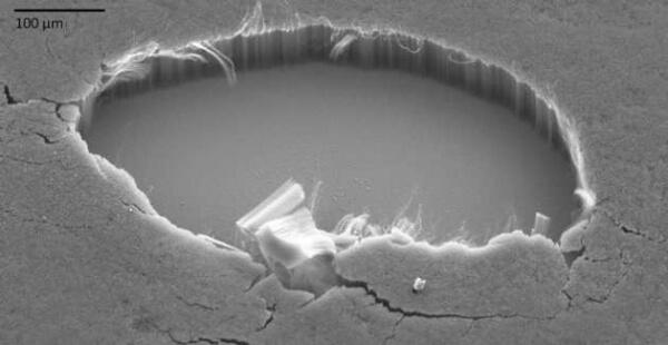 Vantablack под микроскопом. Очень плотно уложенные вертикально углеродные нанотрубки