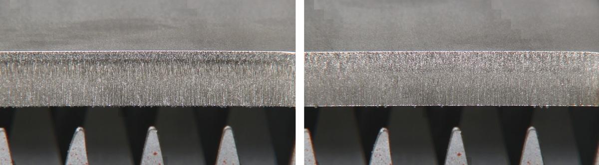 Резка 12 мм из нержавеющей стали на станке Amada Ventis, без Locus Beam Control (слева) и с включенным LBC (справа)