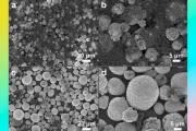 Изображения, полученные с помощью сканирующего электронного микроскопа, показывающие морфологию катодного материала из отработанных аккумуляторов (сверху) и восстановленного катодного порошка (снизу)